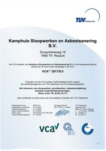 Certificaat VCA** 2017/6.0